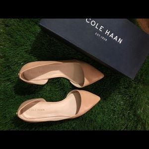 Cole Haan Nude Beige pointed toe leather flats